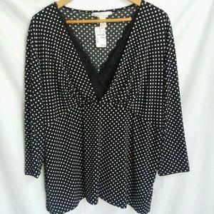 2x CJ Banks , 20/22 black & white polka dot NWT